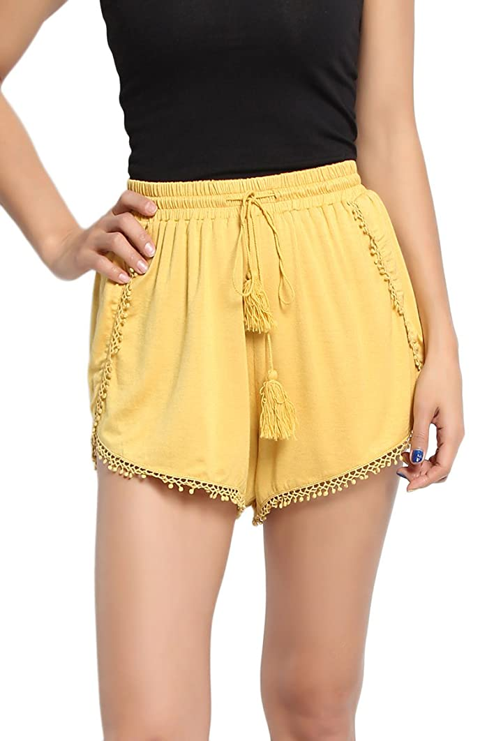 TheMogan Women's Lace Trim Elastic Drawstring Waist Soft Jersey Lounge Shorts