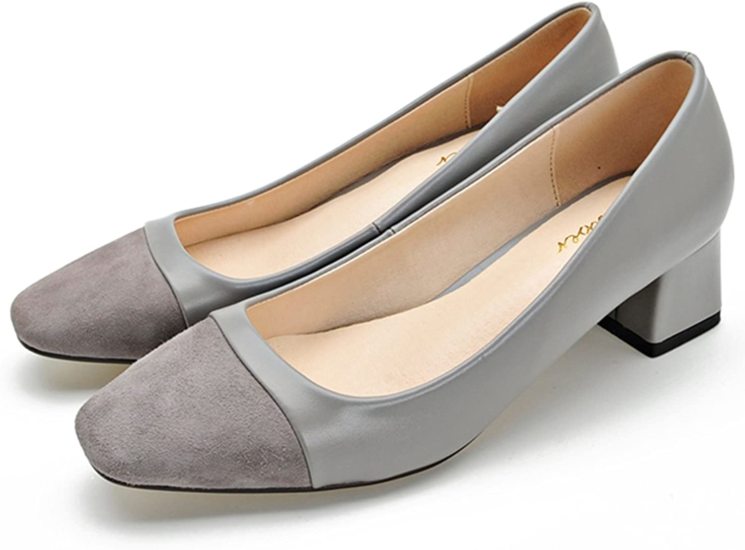 Naly Women's Classic Square Toe Splice Frosted Evening Dress Matte Pumps Medium Chunky Heel