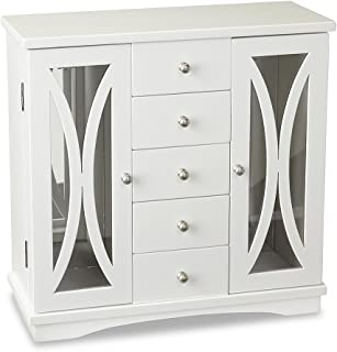 Jaclyn Smith Wooden Glass Door Upright Jewelry Chest