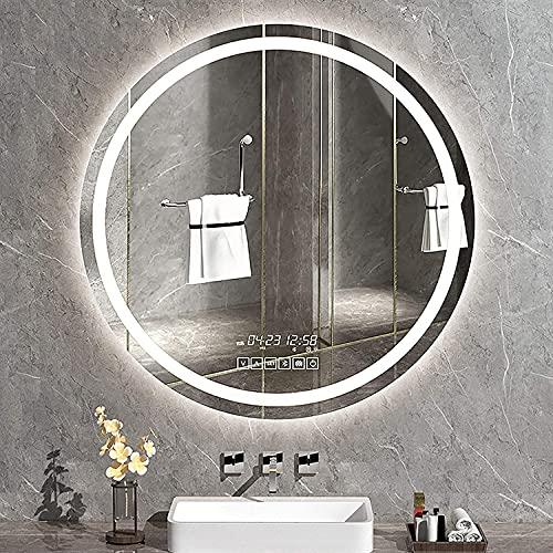 NKTJFUR DIRIGIÓ Espejo de baño Montado Redondo Montado en Pared Anti-Niebla Dimpirable Brillo Regulable con Simulaciones de iluminación Simulaciones Interruptor táctil Inteligente, Pantalla de Tiempo