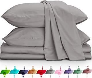 URBANHUT Egyptian Cotton Sheets Set (4 Piece) 800 Thread Count - Bedspread Deep Pocket Premium Bedding Set, Luxury Bed Sheets for Hotel Collection Soft Sateen Weave (Queen, Silver Grey)