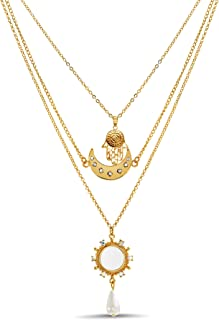 Steve Madden Rhinestone Hamsa Moon Simulated Pearl Teardrop Yellow 3 Row Layered Chain Necklace for Women