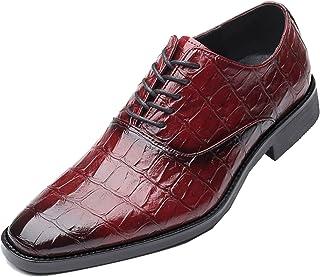 Zapatos Oxford para Hombre Patrón Dividido Zapatos de Cuero Retro con Cordones Bajos y Ligeros Zapatos Formales de Oficina...