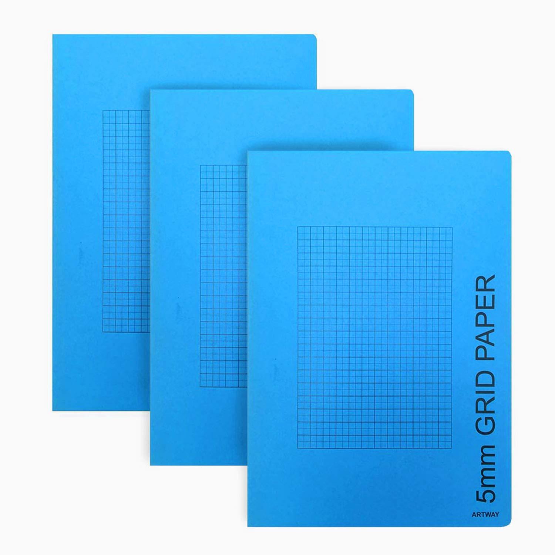 Artway - Pack de 3 Cuadernos de tamaño A4 - Cuadricula de 5 mm: Amazon.es: Hogar