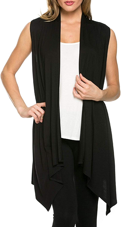 Azules Women's Sleeveless Asymmetric Hem Open Front Cardigan [Made in USA]