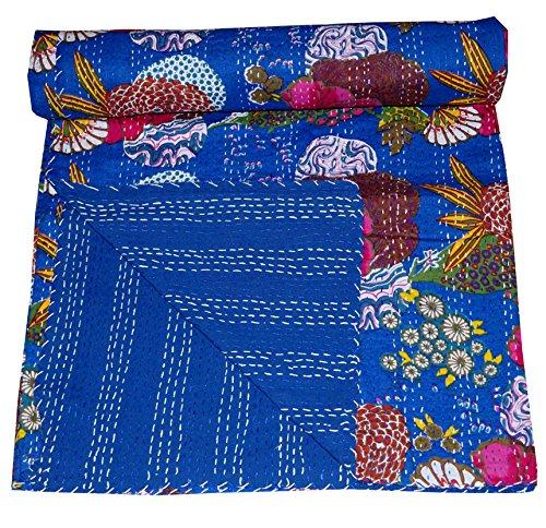 Online Blau Floral Print Queen Size Kantha Quilt Weiß, Kantha Decke, Bed, Queen Kantha Tagesdecke, Bohemian Big Bazar