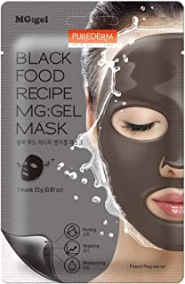 Purederm Black Food MG Gel Facial Mask X5 Sheets | 17 Black Foods, All-Natural Ingredients & Moisturizing Extracts | Condi...