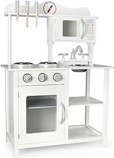 comprar comparacion Leomark Moderno Cocina Madera Infantil de Juguete - Classic White - Accesorios: reloj, microondas, Para Niños, Estilo Esca...
