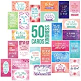 Charming Kindness Motivational Inspirational Quote Cards - 50 Mini Cards for Expressing Gratitude and Encouragement to Students, Co-workers, Friends and Loved Ones - Business Card Size