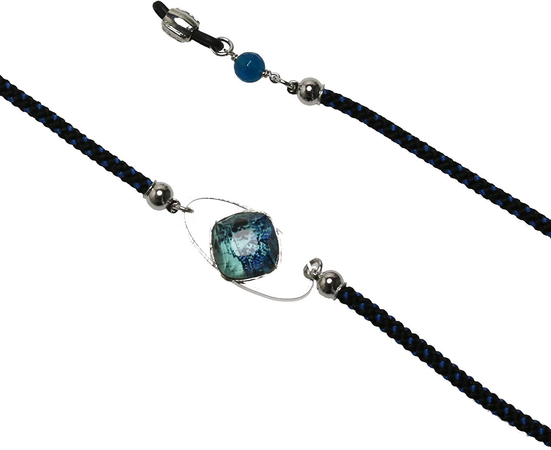 TAMARUSAN Eyeglasses Chain Blue Braid Silk Play Cards Gift Resin Men
