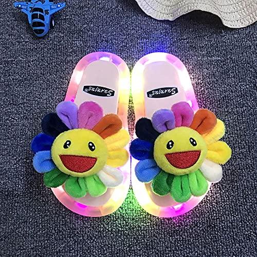 Chanclas Mujer Fila,Luminosas Zapatillas para Padres, Zapatillas De Girasol Regalos para Hermanos Y Estudiantes, Zapatillas para NiñOs Caminando En La Playa En Las Noches De Verano-EU 40/41 (245mm /