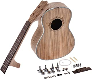 ammoon 26 inch Tenor Ukelele Ukulele Hawaii Guitar DIY Kit Zebra Wood Body Rosewood Fingerboard with Pegs String Bridge Nut