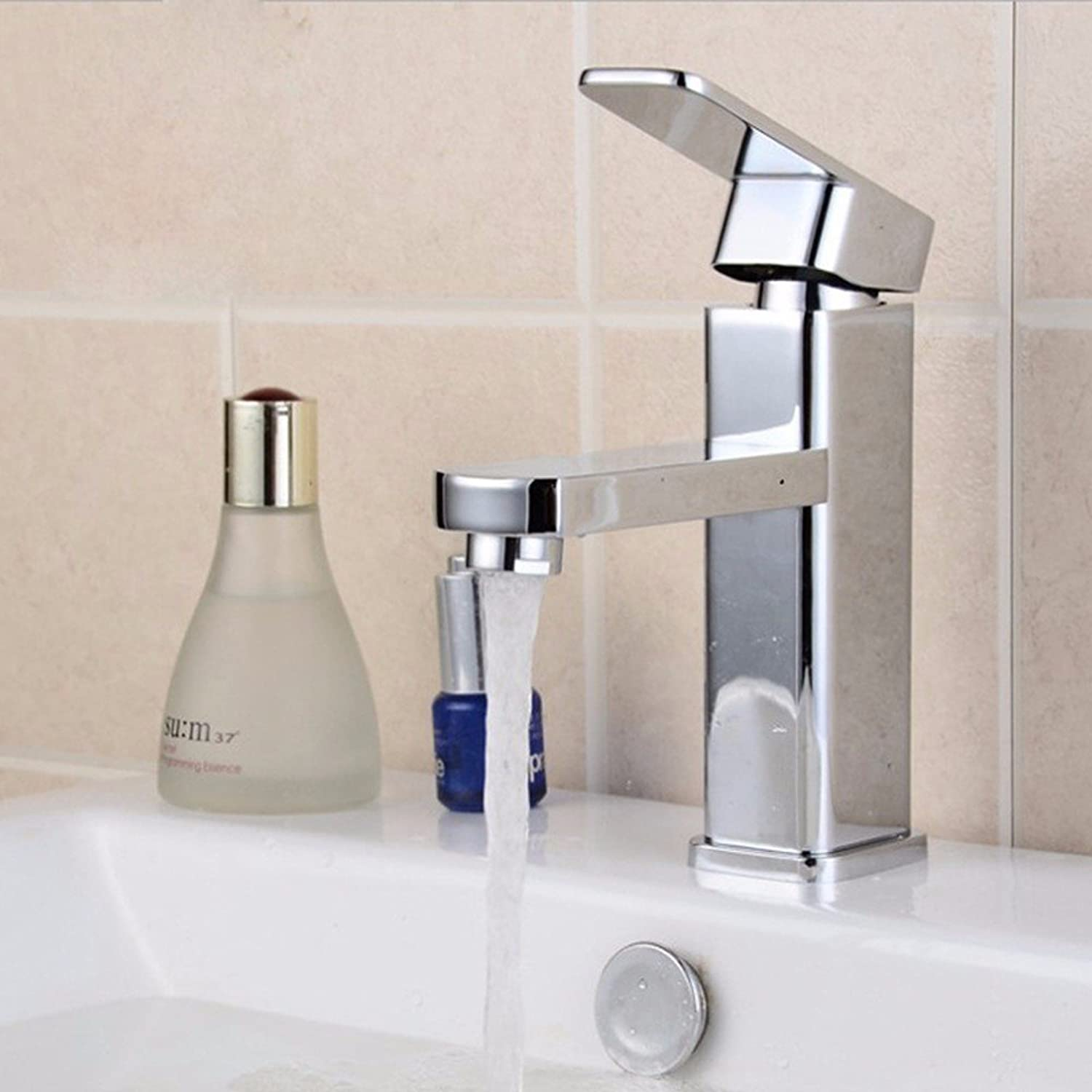 LHbox Basin Mixer Tap Bathroom Sink Faucet Hand wash basin faucet basin mixer lowered basin single hole brass body and cold water faucet