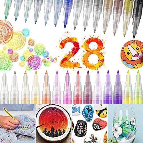 Acrylstifte für Steine Wasserfest 28 Farben Permanent Marker Stifte Porzellanstifte Spülmaschinenfest Stifte für Holz 0.7mm Steine bemalen Set für Kinder, Papier, Glas, DIY, Leinwand, Metall…