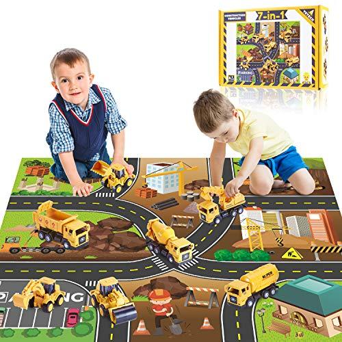 Yetech vehículos de construcción de Juego,7 en 1 Tire del Camiones de Juguetes ,con tapete de Juego de 27.6 * 31.5ins,Vehículos Construcciones Regalo Juegos Educativos para Niños 3 - 7 años