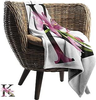 Mannwarehouse Letter K Home Throw Blanket Blooming Kaffir Lily with Vibrant Green Stalk K Sign Nature Flower Art Print Fall Winter Spring Living Room Pink Green Black