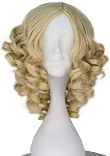 Miss U Hair Women Girl Short Curly Yellow Blonde Hair Anime Cosplay Costume Wig