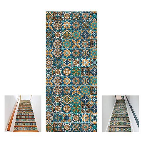 RUIXINBC Escalera De Pegatinas Autoadhesivas 13 Unids 3D Patrón De Cerámica Azulejo Pared Escaleras Adhesivos PVC Desmontables Impermeables Mural Escalera Calcomanías