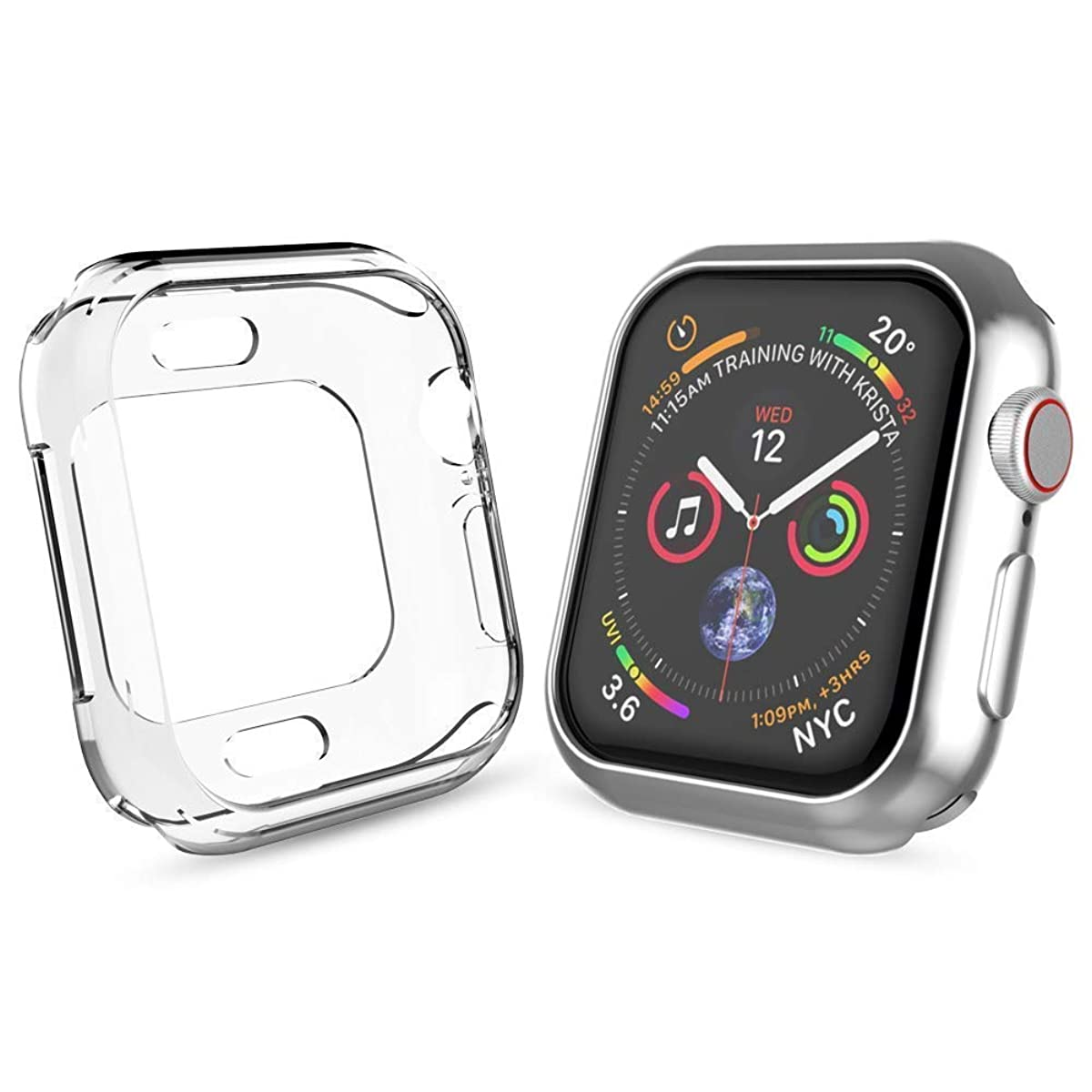 Tech Express [2 Pack] Metallic Chrome Case + Clear Bumper Case for Apple Watch Series 4 [iWatch Cover] Rugged Scratch Resistant Shockproof Metal Tough Open Front Lot of 2 (Silver + Clear, 40mm)
