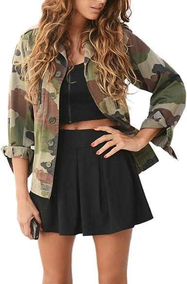 Chaqueta Militar Mujer Camisas Camuflaje de Manga Larga Otoño ...