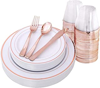 150pcs/set Rose Gold Party Disposable Plastic Cutlery Set, Party Supplies Plate, Cup, Spoon, Cutlery
