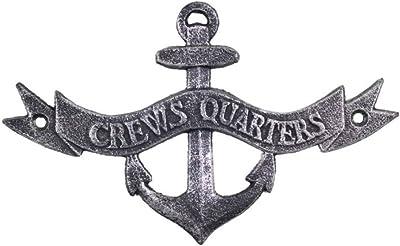 "Hampton Nautical Antique Silver Crews Quarters Anchor Sign 8""-Decorative Metal Wall Art-Cast Iron Nautical"