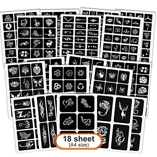 Henna Tattoo Schablonen Kit, AOBETAK 285 Stück Wiederverwendbar Glitter Temporäre Tattoos Schablone, 18 Blatt Schablonen Tätowierung Sticker für Jugendliche Erwachsene Henna Designs