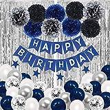 SKYIOL Geburtstagsdeko Jungen Mann Blau Silber Weiß 43 Stück Kindergeburtstag Deko Happy Birthday Set mit Helium Latex Luftballons Regenvorhang Sterne Girlande Pompoms für Baby Shower Party