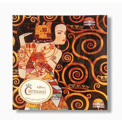 Carmani - Piatto Quadrato in Vetro Stampato con la Pittura Klimt