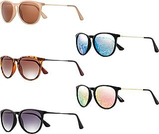 Frienda - 5 Pares de Gafas de Sol Redondas Clásicas Retro Vintage Clásicas Gafas de Sol con Espejo para Mujeres Hombres
