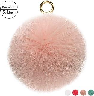 9bc95e2e2213 Guinggotts Genuine Fur Pom Pom Keychain Cute Bag Purse Charms Tote Handbag  Key Ring for Fashion