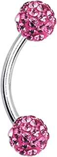 Eyebrow Ring Crystal Ferido Ball 16 Gauge Surgical Steel Curved Barbell Body Piercing Jewelry