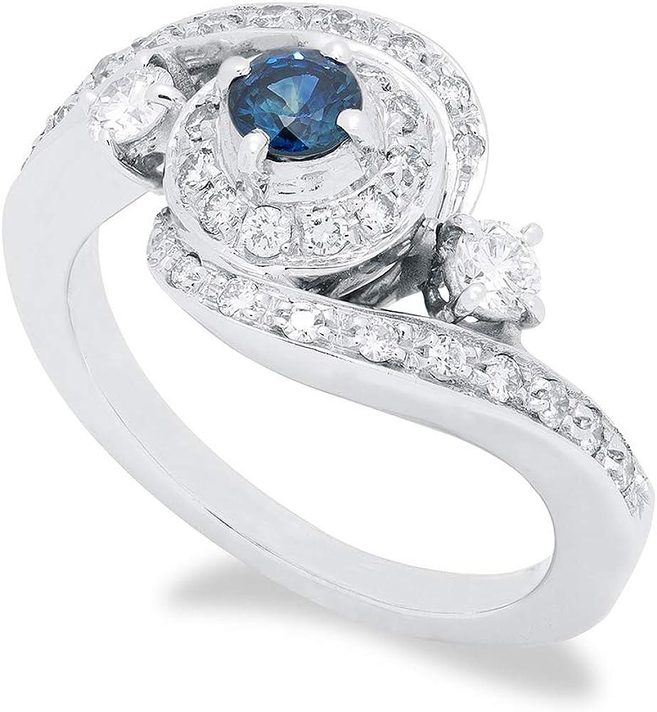 B.&c. gioielli elisse anello donna completamente fatto a mano in oro bianco diamanti vvs e zafiri. an09