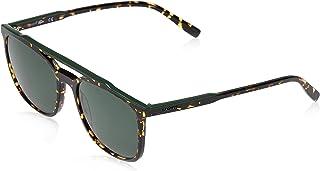 نظارات شمسية اي وير للرجال من لاكوست باطار مستطيل وتصميم اشرطة وانابيب، بني واخضر