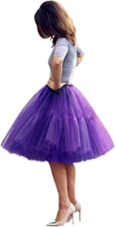 Tulle Skirt,Women's Midi Tulle Tutu Skirt Fluffy Princess Five Layers A line Party Prom Underskirt