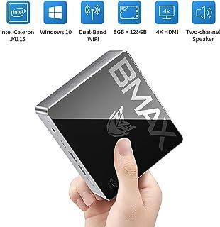 BMAX ミニPC、Intel Celeron J4115 プロセッサ Windows10 搭載 小型PC 8GBメモリー+128GB 、Bluetooth 5.0、2.4G / 5.0G WiFi対応無線LANディスクトップパソコン