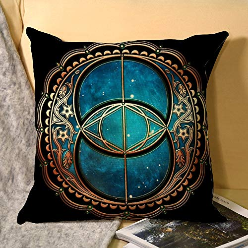 Vesica Piscis, Chalice Well Symbol, Avalon, Celtic, Magic Decorative Cotton Linen Throw Pillow Case Cover Sofa Couch Cushion Covers 18 X 18 Inch