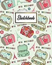 Sketchbook: Bon Voyage Notebook & Workbook for Class, Work or Home | Artistic Journal Book for Drawing, Sketching, Painting or Writing | Awesome Adventure Travel Pattern