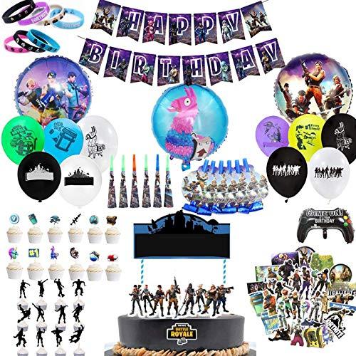 Decoración de la Fiesta de Videojuegos, 123 PCS Artículos de Fiestas para Fanáticos de los Videojuegos Cumpleaños Infantil de Tema de Videojuegos con Pulseras Pegatinas Adornos