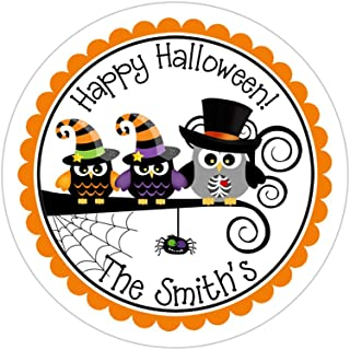 Personalized Customized Halloween Party Favor Thank You Stickers - Owl Family - Round Labels - Choose Your Size