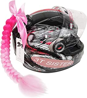 3T-SISTER Helmet Pigtails Gradient Ramp Helmet Braids Ponytail Helmet Hair with Suction Cup with Bowknot for Motor Bike 1PCS 24inch