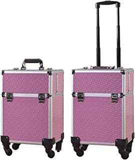 L.TSA Cosmetic Case Professional Trolley Large Multi-Layer Toolbox Special for Makeup Artist,Purple