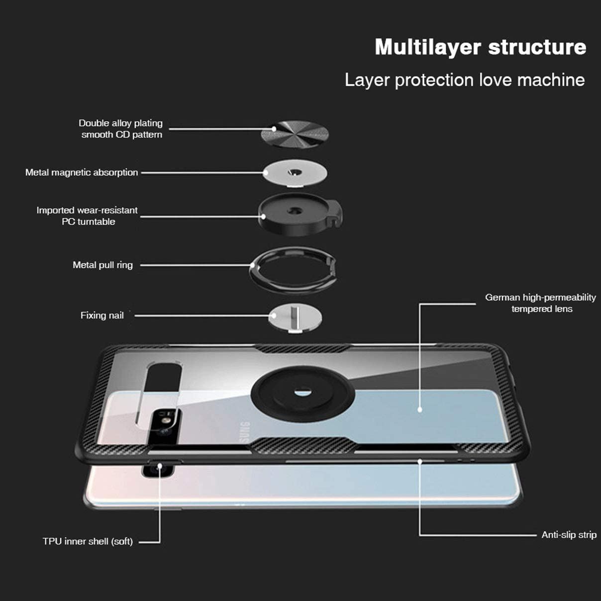 Plus case Built-in Car Magnetic Suction Bracket Shockproof Case with car Magnetic Holder Woskko Galaxy S10