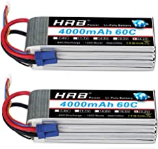 HRB 2pcs 6S 22.2V 4000mAh 60C Lipo Battery with EC5 Plug for RC Quadcopter Helicopter Car Truck Boat Hobby