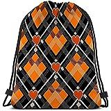 Roman Lin String Gym Backpack Classic Drawstring Bag Sport Storage Bag Halloween Tartan Plaid Heart écossais Motif Orange Noir Gris Cage Scottish Cage Traditionnel écossais