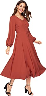 Romwe Women's Lantern Long Sleeve V-Neck A Line Flared Solid Midi Dress