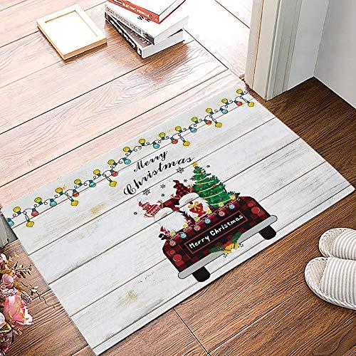 Amanda Walter Felpudo Alfombrilla para Puerta Delantera, Feliz Navidad Gnomo Buffalo Truck Rústico Grano de Madera Alfombrilla de Bienvenida Alfombrilla de Entrada Alfombrilla para Suelo