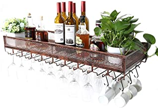 Wine Racks Wall Holder, Bottle and Glass Holder, Rustic Wine Holder, Wall Shelf Storage Rack for Living Room and Kitchen D...