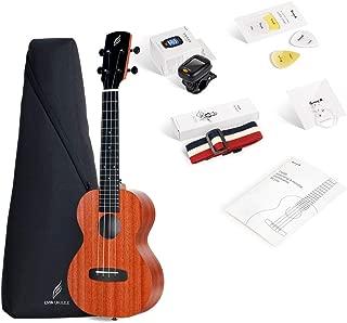 Enya Concert Ukulele 23 inch Kit in Mahogany Pattern Beginner Ukulele with Online Lessons,Padded Ukulele Bag,Tuner, Aquila Strings,Strap,Picks and a Ukulele Booklet EUC-X1M