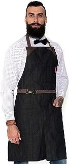 Under NY Sky No-Tie Oak Black Apron – Durable Denim, Leather Reinforcement and Split-Leg – Adjustable for Men and Women – Pro Chef, Barista, Bartender, Baker, Stylist, Tattoo, Artist, Server Aprons